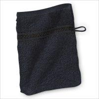 Waschhandschuh 12 Farben Glanzbordüre – Schwarz