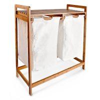 Wäschesammler Bambus LINEA 2 Körbe breit