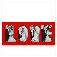 Bilderrahmen LOVE für 4 Bilder – Rot