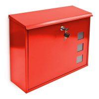 Briefkasten Metall 3 Fenster Farbauswahl – Rot