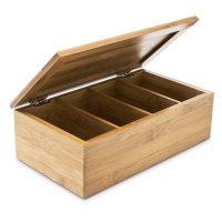 Teebox Bambus lackiert 4 Fächer Tee/Tea