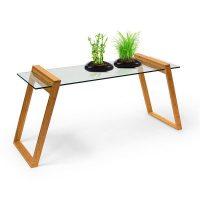 Bambus Glastisch 65x130x46cm Beistelltisch