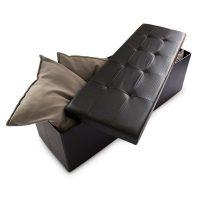 Faltbare Sitzbank Kunstleder – Schwarz 38x114x38cm