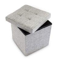 Faltbarer Sitzhocker mit Stauraum Leinen – Grau
