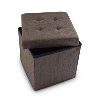 Faltbarer Sitzhocker mit Stauraum Leinen – Braun