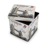 Sitzhocker mit Stauraum Trendmotiv – London