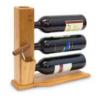 Weinständer Bambus für 3 Flaschen Weinregal