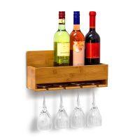 Weinregal mit Glashalter Dekoflasche