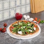 Pizzastein 33 cm aus Cordierit mit Metallhalter