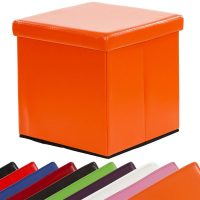 "Sitzhocker, Faltbox, Sitzwürfel ""CUBE"" – Orange"