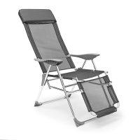 Deluxe Liegestuhl klappbar – Anthrazit Camping Sonnenliege