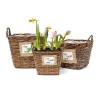 Pflanzkörbe 3er Set Weidenkorb – Rechteckig hoch