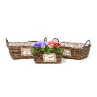 Pflanzkörbe 3er Set Weidenkorb – Quadratisch flach