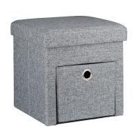 Faltbarer Sitzhocker Leinen mit Fach – Grau