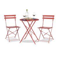 Bistrotisch rund mit 2 Stühlen – Rot