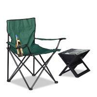 Campingstuhl mit Getränkehalter – Grün