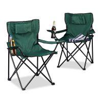 Campingstuhl 2-er Set mit Rückenpolster – Grün